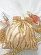 Cream Gold Handcrafted Beaded Silk Potli