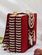 Red White Handcrafted Beaded Suede Clutch