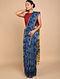 Blue Shibori Dyed Ajrakh Printed Chanderi Saree
