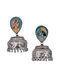 Multicolored Silver Tone Tribal Jhumki Earrings