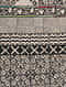 Criss Cross Black and White Block Printed Cotton Dhurrie with Recycled Silk Embroidery (60in x 36in)