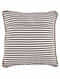 Trikona Black-Multicolor Block Printed Cotton Cushion Cover with Striped Backing and Piping with Recycled Silk Embroidery (16in x 16in)