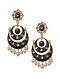 Black Gold Tone Enameled Chandbali Earrings With Pearls