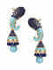 Blue Gold Tone Jhumki Earrings