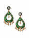 Green Gold Tone Enameled Earrings With Pearls