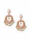 Pink Gold Tone Enameled Chandbali Earrings With Pearls