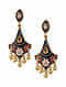 Black Red Gold Tone Enameled Earrings With Pearls