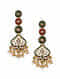 Green Red Enameled Earrings With Pearls