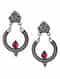 Red Kundan Tribal Silver Earrings