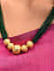 Green Gold Tone Beaded Necklace