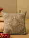 Brown Cotton Mirror Work Cushion Cover (L-15.5in, W-15.5in)