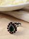 Maroon Green Silver Adjustable Ring