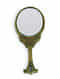 Green Handcrafted Wood and Glass Hand Oval Mirror (L - 10in, W - 4.25in, H - 0.5 in)
