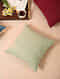Green Handcrafted Cotton Linen Cushion Cover (16in x 16in)