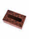 Red Handcrafted Mango Wood Tissue Box (L - 9in, W - 5.5in, H - 3.25in)