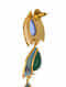 Blue Green Gold Tone Enameled Earrings