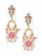 Pink Gold Tone Kundan Inspired Enameled Earrings