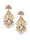 Purple Pink Gold Tone Kundan Inspired Earrings With Pearls