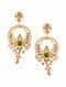 Green Pink Gold Tone Kundan Inspired Earrings With Pearls