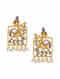 Purple Gold Tone Kundan Inspired Earrings With Pearls