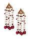 Red Gold Tone Kundan Beaded Earrings