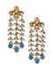Turquoise Gold Tone Pearl Beaded Kundan Earrings