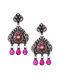 Maroon Tribal Silver Kundan Earrings