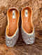 Grey Handcrafted Silk and Leather Juttis