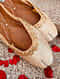 Cream Handcrafted Brocade and Leather Juttis