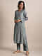 Grey Zari Striped Chanderi Kurta