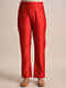 Red Tie-Up Chanderi Jacquard Pants