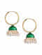 Green Gold Tone Enameled Jhumki Earrings With Pearls