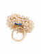 Blue Gold Tone Handcrafted  Ring With Pearls