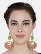 Peach Green Gold Plated Enameled Earrings