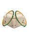Green Onyx Gold Tone Silver Bangle (Size: 2/5)