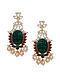Green Onyx Gold Tone Polki-Inspired Earrings