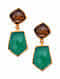 Green Onyx and Smoky Quartz Gold Tone Silver Earrings