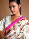 Ivory-Pink Printed Chanderi Saree