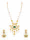 Green Gold Plated Silver Necklace and Earrings with Pearls