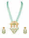 Turquoise Beaded Gold Plated Bellore Polki Necklace with Earrings