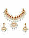 Maroon Green Gold Plated Bellore Polki Silver Necklace with Earrings