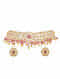 Pink Gold Plated Bellore Polki Silver Necklace with Earrings
