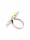 Dual Tone Sterling  Silver Adjustable Ring