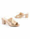 Light Gold Handcrafted Genuine Leather Block Heels