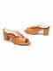Tan Handcrafted Genuine Leather Block Heels