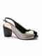 Black Silver Handcrafted Genuine Leather Block Heels