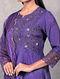 Ankuri Purple Embroidered Chanderi Silk Kurta