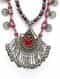 Red Blue Silver Tone Tribal Necklace