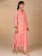 Pink Hand Embroidered Chanderi Kurta with Scalloped Sleeves