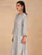 Grey Hand Embroidered Chanderi Kurta with Scalloped Sleeves